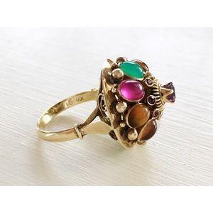 Vintage 40s Rainbow Gemstone Thai Princess Ring 9